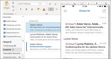 """Ordner """"Entwürfe"""" auf dem Desktop und auf dem Smartphone"""
