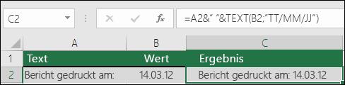Beispiel für ein Verknüpfen von Text mit der TEXT-Funktion