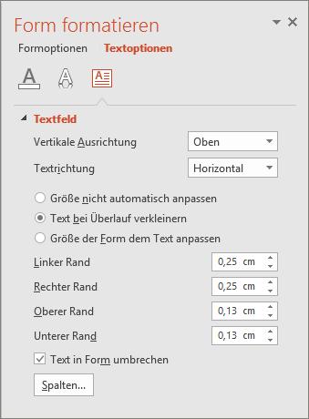 Abbildung des Bereichs 'Form formatieren > Textoptionen' in PowerPoint