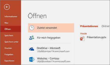 PowerPoint-Desktopanwendung öffnen