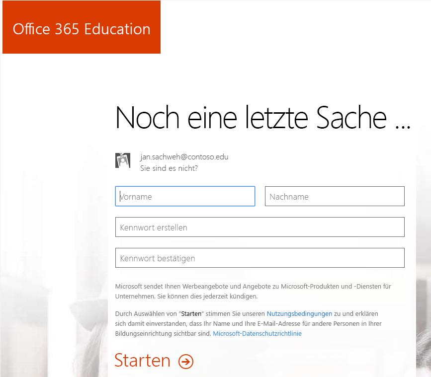 Screenshot der Seite zum Erstellen von Kennwörtern für den Registrierungsvorgang in Office 365
