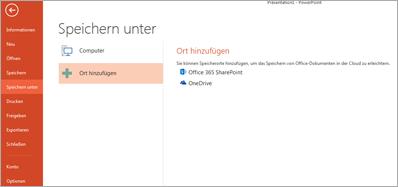 OneDrive als Speicherort hinzufügen