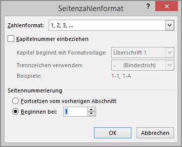 """Gezeigt werden die Optionen im Dialogfeld """"Seitenzahlenformat""""."""