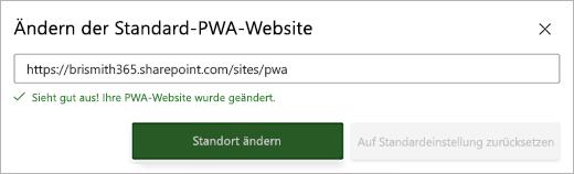"""Screenshot des Dialogfelds """"standardmäßige PWA-Website ändern"""" mit einer grünen Erfolgsmeldung unterhalb des Textfelds"""
