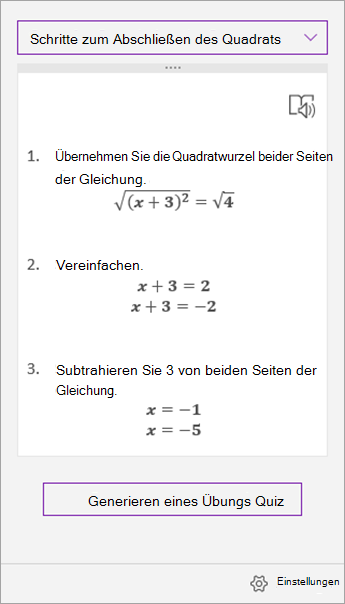 """Lösungsschritte im Aufgabenbereich """"Gleichungs-Assistent"""""""