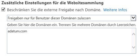 """Screenshot des Teils zu eingeschränkten Domänen im Dialogfeld """"Websitesammlungseinstellungen"""""""