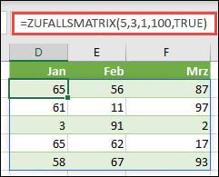 Zufalls Matrix-Funktion mit min-, Max &-Argumenten für ganze Zahlen