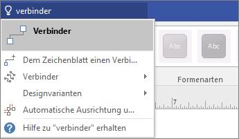 """Screenshot des Tools """"Was möchten Sie tun?"""" mit Ergebnissen für """"Verbinden"""""""