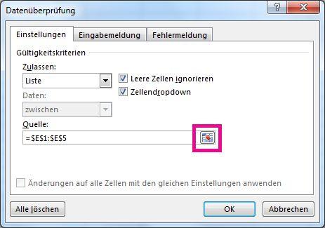 Schaltfläche zum Reduzieren des Dialogfelds auf der Registerkarte 'Einstellungen'