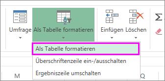 Schaltfläche zum Formatieren von Daten als Tabelle