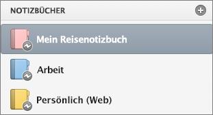 """Notizbuchliste im Status """"offline""""."""