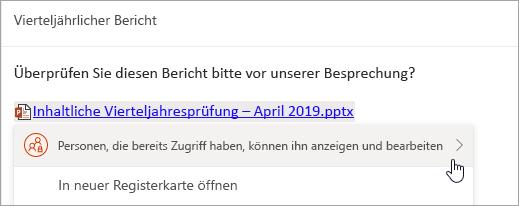 Screenshot eines Links zu einer OneDrive-Datei