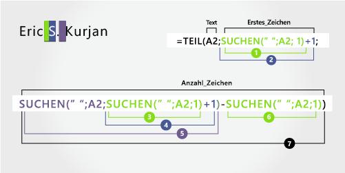 Details einer Formel zum Extrahieren folgender Namensbestandteile: Vor-, mittlerer und Nachname