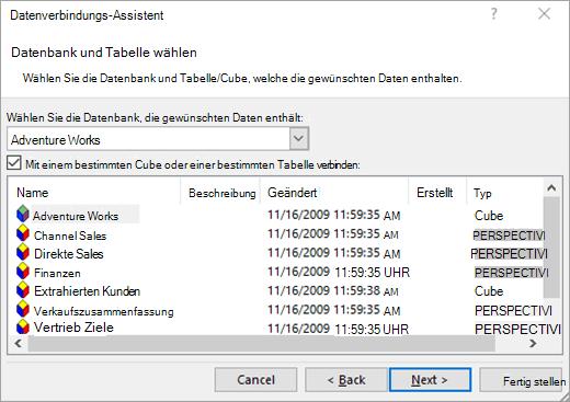 Daten Datenverbindungs-Assistenten Bildschirm 2