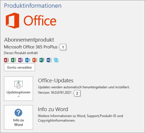 """Screenshot der Seite """"Konto"""" mit dem Namen des Office-Produkts und der vollständigen Versionsnummer"""