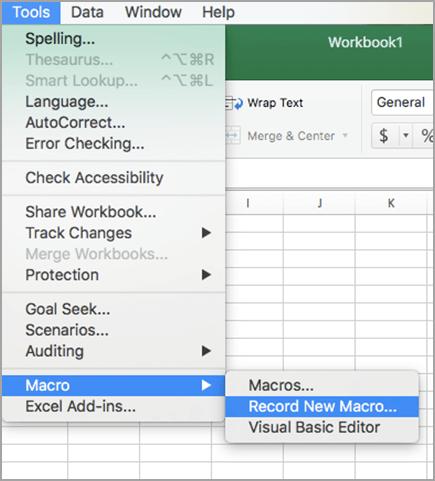 """Wählen Sie """"Extras"""", dann """"Makro"""", dann """"Neues Makro aufzeichnen"""" aus."""