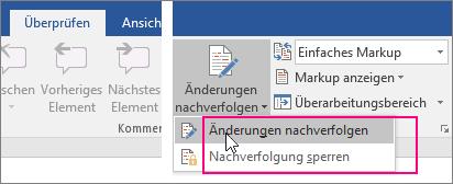 Beim Klicken auf die Schaltfläche 'Änderungen nachverfolgen' werden die verfügbaren Optionen hervorgehoben