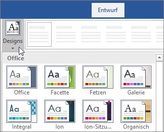 Optionen für Designs im Word-Menüband