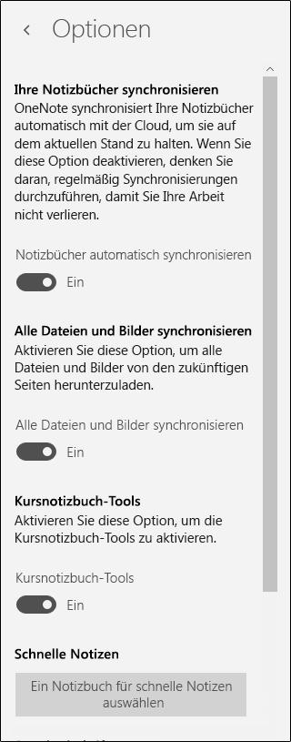 Optionen für Klasse Notizbuch-tools