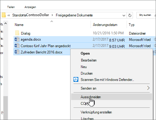 """Klicken mit rechter Maustaste und Auswählen von """"Ausschneiden"""" zum Verschieben einer Datei"""