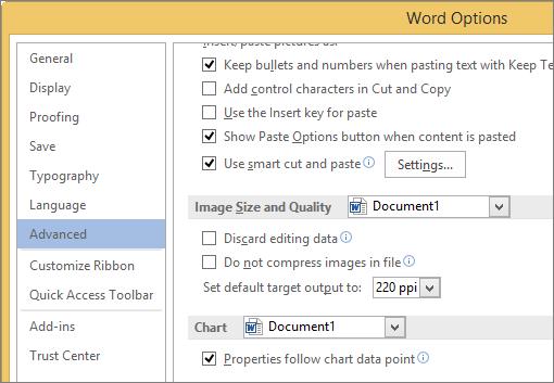 Optionen für Bildgröße und -qualität in Word