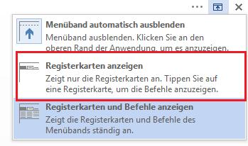 """Klicken Sie auf """"Registerkarten anzeigen""""."""