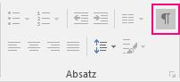 """Auf der Registerkarte """"Start"""" ist das Symbol """"Anzeigen/Ausblenden"""" hervorgehoben."""