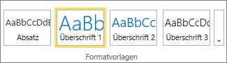 """Screenshot der Gruppe """"Formatvorlagen"""" im SharePoint Online-Menüband mit ausgewählter Formatvorlage """"Überschrift1""""."""