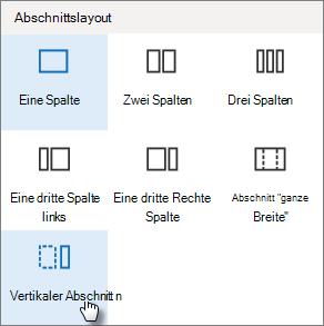 """Vertikaler Abschnitt im Bereich """"Abschnittslayout"""""""