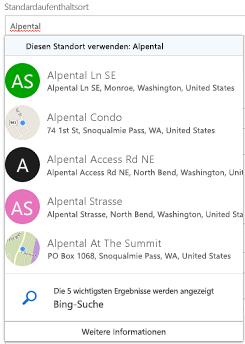 Vorgeschlagene Orte werden über Bing angeboten.