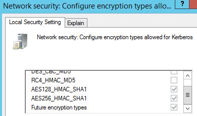 Se überprüfen, ob die folgenden Optionen ausgewählt sind: AES128_HMAC_SHA1, AES256_HMAC_SHA1 und zukünftige Verschlüsselungstypen.