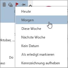 Verfügbare Nachverfolgungsoptionen beim Kennzeichnen einer Nachricht