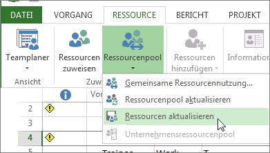 Aktualisieren des Ressourcenpools nach dem Bearbeiten von Ressourcen in einer mitbenutzenden Datei