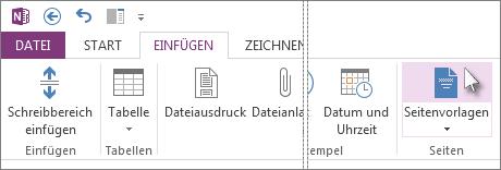 Klicken Sie auf die Schaltfläche 'Seitenvorlagen', um Vorlagen anzuzeigen und damit zu arbeiten.