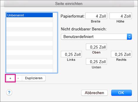 """Wählen Sie unter """"Seite einrichten"""" die Option """"Benutzerdefinierte Formate verwalten"""" aus, um benutzerdefinierte Papierformate zu erstellen."""