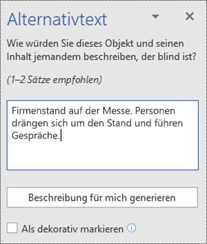 """Dialogfeld """"Alternativtext"""" in Word für Windows"""