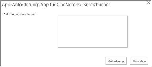 "Screenshot des Dialogfelds ""App-Anforderung"""