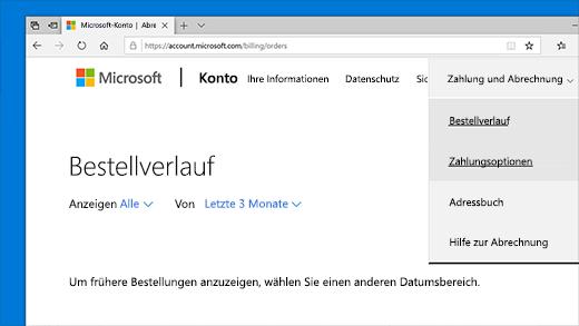 Überprüfen des Bestellverlaufs im Microsoft-Konto