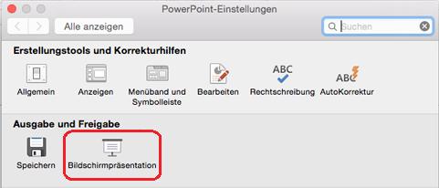 """Klicken Sie im Dialogfeld """"PowerPoint""""-Einstellungen unter """"Ausgabe und Freigabe"""" auf """"Bildschirmpräsentation""""."""