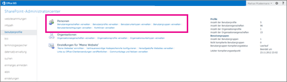 Screenshot des SharePoint Online Admin Centers mit ausgewählter Seite für Benutzerprofile