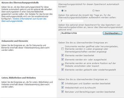 Seite 'Überwachungseinstellungen konfigurieren'