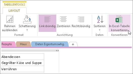 Konvertieren einer OneNote-Seite in eine Excel-Kalkulationstabelle