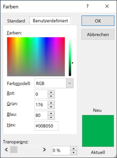 Farbauswahl in Office-Apps. Unter den RGB-Feldern befindet sich ein neues Feld zum Eingeben des Hex-Farbwerts.