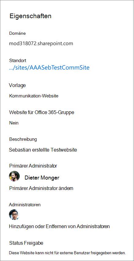 Websiteeigenschaften im Detailbereich