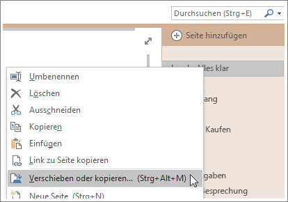 Screenshot: Verschieben oder Kopieren einer Seite in OneNote2016
