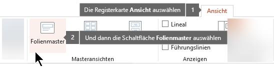 """Verwenden der Registerkarte """"Ansicht"""" in PowerPoint zum Wechseln zur Folienmaster-Ansicht"""