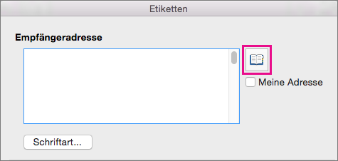 """Klicken Sie auf das """"Adresse einfügen""""-Symbol, um eine Adresse aus Ihrer Kontaktliste auszuwählen."""