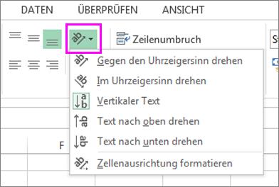 Die Optionen für die Schriftausrichtung auf der Registerkarte 'Start'