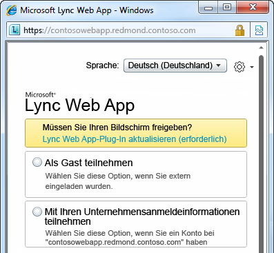 Optionen für die Teilnahme an einer Besprechung mit Lync Web App