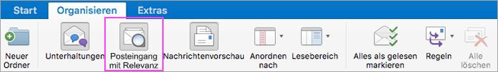 Der Posteingang mit Relevanz hilft Ihnen, Ihre E-Mails übersichtlicher zu organisieren.